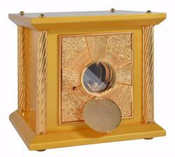 Picture of Small size Altar Tabernacle 4 Columns with Exposition cm 33x33x31 (13,0x13,0x12,2 inch) Cross IHS Rays of Light in wood Gold for Church