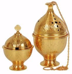 Picture of Thurible Boat low Knot 1 chain in chiseled brass Gold Silver Church liturgical Censer for Mass
