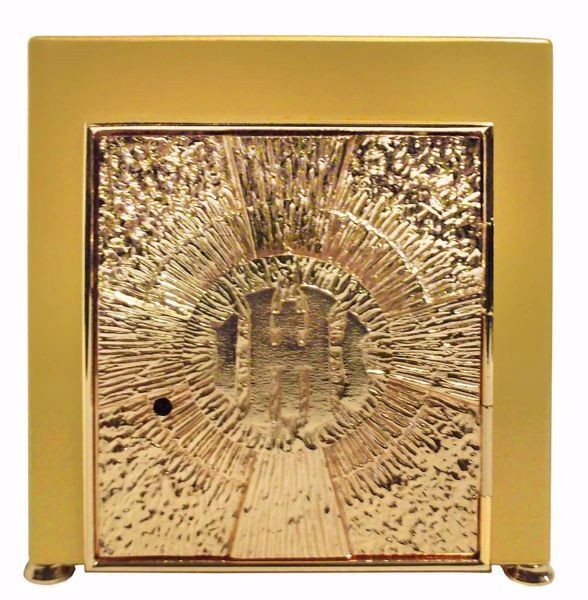Picture of Small size Altar Tabernacle with Exposition cm 25x25x30 (9,8x9,8x11,8 inch) Cross IHS Rays of Light in brass Gold for Church