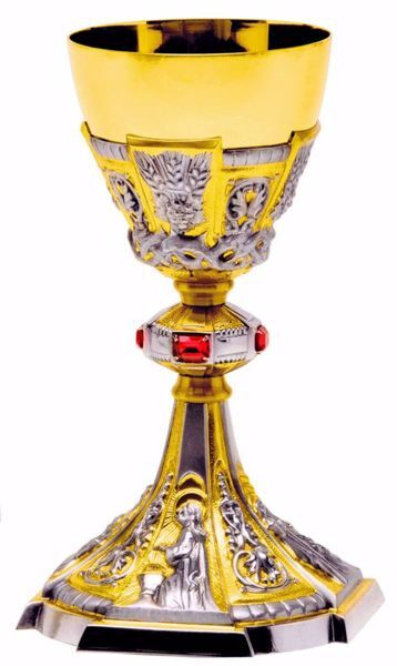 Picture of Liturgical Chalice H. cm 24 (9,4 inch) Baroque style Ears of Wheat Crown of Thorns Red Swarovski in 800/1000 Silver Cup Bicolor for Mass Wine