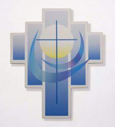 Imagen de Cruz Iris Azul cm 27,5x23 (10,8x9,1 inch) Escultura de pared en arcilla refractaria blanca Cerámica Centro Ave Loppiano