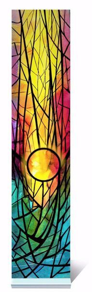 Picture of Rising Sun Small stained-glass Window Colored cm 18x4 (7,5x1,6 inch) Decoration in plexiglass Ceramica Centro Ave Loppiano