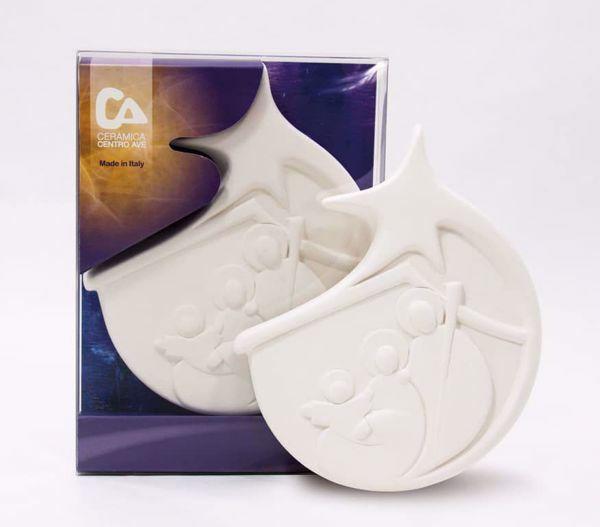 Immagine di Tondo Presepe Cometa cm 12 (4,7 inch) Scultura in bassorilievo in argilla refrattaria bianca Ceramica Centro Ave Loppiano