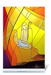 Picture of Holy Family Small stained-glass Window Colored cm 12,5x12 (4,9x4,7 inch) Nativity Scene in plexiglass Ceramica Centro Ave Loppiano
