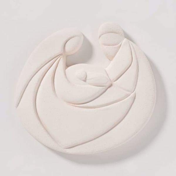 Immagine di Tondo Presepe Perla Sacra Famiglia cm 10 (3,9 inch) Scultura bassorilievo in argilla bianca Ceramica Centro Ave Loppiano