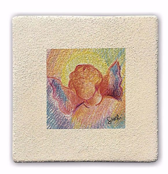 Picture of Miniature Angel cm 10 (3,9 inch) Wall / Desk hand painted pastel colors picture in white refractory clay Ceramica Centro Ave Loppiano