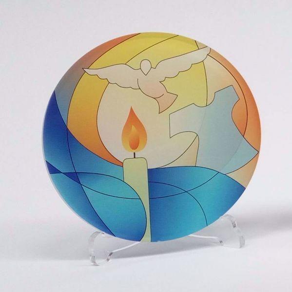 Immagine di Tondo Battesimo Colorato cm 10 (3,9 inch) in plexiglass Ceramica Centro Ave Loppiano