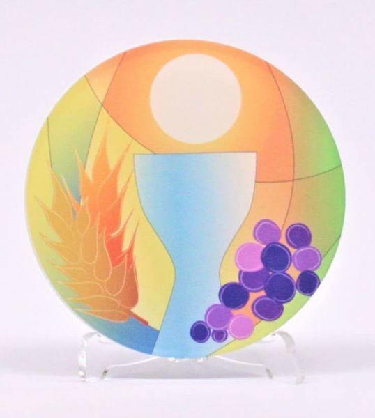 Immagine di Tondo Prima Comunione Colorato cm 10 (3,9 inch) in plexiglass Ceramica Centro Ave Loppiano