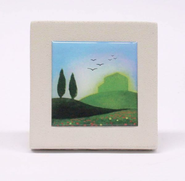 Picture of Miniature sticker Spring hand-drawn acrylic plate cm 10 (3,9 inch) Wall / Desk picture in white refractory clay Ceramica Centro Ave Loppiano