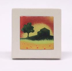 Picture of Miniature sticker Summer hand-drawn acrylic plate cm 10 (3,9 inch) Wall / Desk picture in white refractory clay Ceramica Centro Ave Loppiano