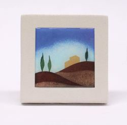 Picture of Miniature sticker Autumn hand-drawn acrylic plate cm 10 (3,9 inch) Wall / Desk picture in white refractory clay Ceramica Centro Ave Loppiano
