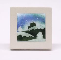 Picture of Miniature sticker Winter hand-drawn acrylic plate cm 10 (3,9 inch) Wall / Desk picture in white refractory clay Ceramica Centro Ave Loppiano