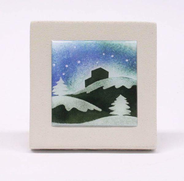 Imagen de Miniatura sticker Invierno dibujo en acrílico cm 10 (3,9 inch) Cuadro de arcilla blanca de pared y/o mesa Cerámica Centro Ave Loppiano