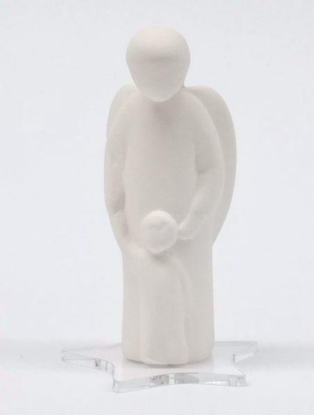 Imagen de Ángel de la Guarda con base de plexiglass cm 9,5 (3,7 inch) Escultura de mesa de terracota Cerámica Centro Ave Loppiano