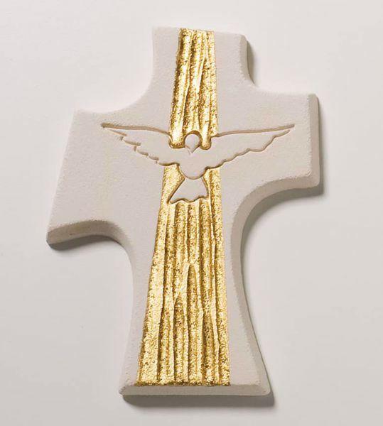 Immagine di Crocetta Cresima Colomba Gold cm 15 (5,9 inch) Croce da Parete in argilla refrattaria bianca Ceramica Centro Ave Loppiano