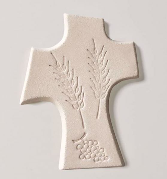 Picture of First Communion Cross Grapes and Spikes cm 15 (5,9 inch) Wall Cross in white refractory clay Ceramica Centro Ave Loppiano