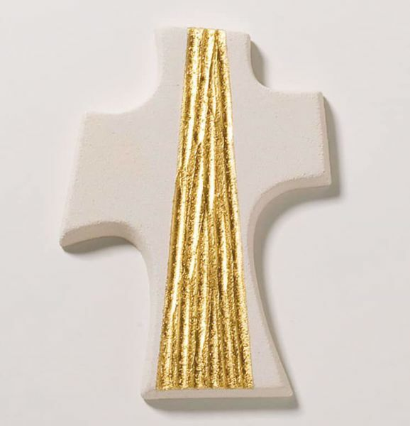 Picture of Confirmation Cross Gold cm 15 (5,9 inch) Wall Cross in white refractory clay Ceramica Centro Ave Loppiano