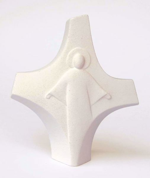 Picture of Resurrected Christ Cross cm 14 (5,5 inch) Sculpture in white refractory clay Ceramica Centro Ave Loppiano