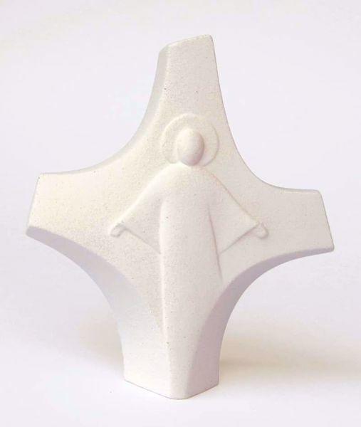 Immagine di Crocetta Cristo Risorto cm 14 (5,5 inch) Scultura in argilla refrattaria bianca Ceramica Centro Ave Loppiano