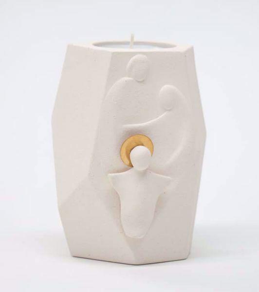 Immagine di Presepe di Natale con Candela tealight cm 11 (4,3 inch) Scultura in argilla refrattaria bianca Ceramica Centro Ave Loppiano