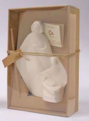 Picture of Tondo Holy Family Nativity Scene Nives cm 18 (7,1 inch) Statue in white refractory clay Ceramica Centro Ave Loppiano