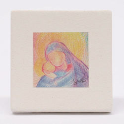 Picture of Miniature Madonna with Child cm 10 (3,9 inch) Wall / Desk hand painted pastel colors picture in white clay Ceramica Centro Ave Loppiano