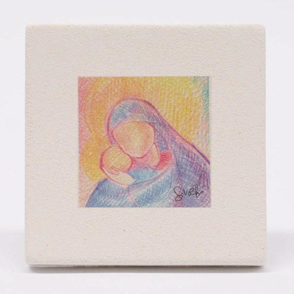 Imagen de Miniatura Madonna con Niño cm 10 (3,9 inch) Cuadro al Pastel de arcilla blanca de pared y/o mesa Cerámica Centro Ave Loppiano