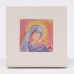 Picture of Miniature Madonna with Child cm 10 (3,9 inch) Wall / Desk hand painted pastel colors picture in white refractory clay Ceramica Centro Ave Loppiano