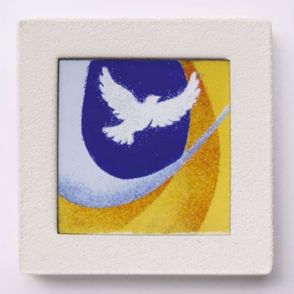 Picture of Miniature sticker Confirmation hand-drawn acrylic plate cm 10 (3,9 inch) Wall / Desk picture in white refractory clay Ceramica Centro Ave Loppiano