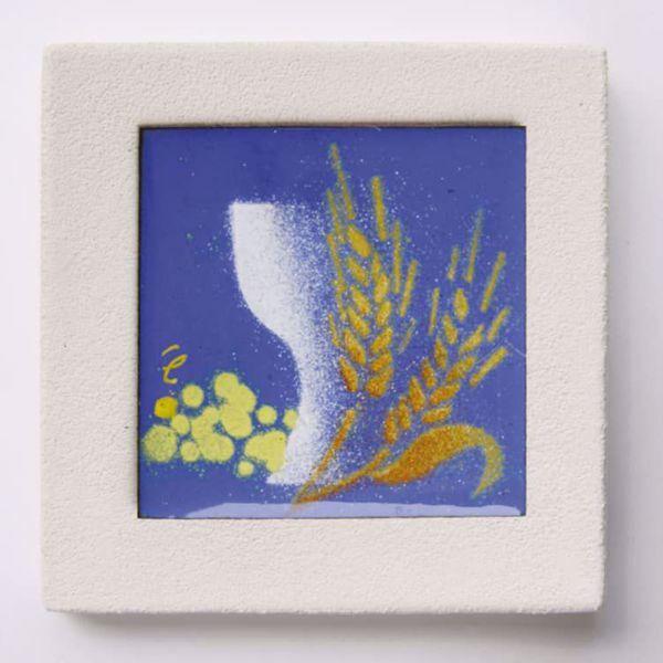 Imagen de Miniatura sticker Primera Comunión dibujo en acrílico cm 10 (3,9 inch) Cuadro de arcilla blanca de pared y/o mesa Cerámica Centro Ave Loppiano