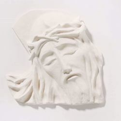 Picture of Holy face of Jesus cm 24 (9,4 inch) Bas-relief Sculpture in white refractory clay Ceramica Centro Ave Loppiano