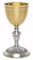 Picture of Liturgical Chalice H. cm 19,5 (7,7 inch) smooth satin finish decorated base in brass Gold Silver for Holy Mass Altar Wine