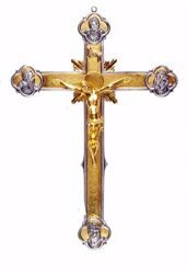 Picture of Processional Cross cm 52x35 (20,5x13,8 inch) Crucifix Four Evangelists in brass Gold Silver Bicolor Crucifix for Church Procession