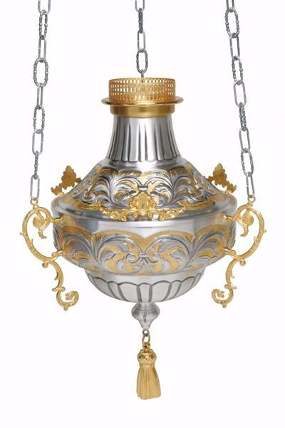 Picture of Hanging Sanctuary Lamp Blessed Sacrament Diam. cm 25 (9,8 inch) decorations chiseled brass Silver Bicolor lamp holder for Churches