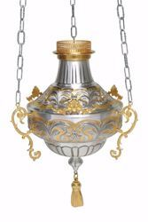 Picture of Hanging Sanctuary Lamp Blessed Sacrament Diam. cm 30 (11,8 inch) golden decorations tassel brass Silver Bicolor lamp holder