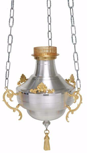Immagine di Lampada a sospensione Santissimo Sacramento Diam. cm 20 (7.9 inch) liscia satinata ottone Oro Argento Portalampada Santuario Chiesa