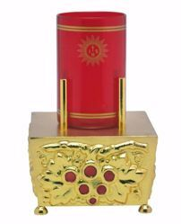 Picture of Altar Lamp Blessed Sacrament H. cm 14 (5,5 inch) Grapes Red Enamel in bronze Gold Silver Liturgical lamp holder for Churches