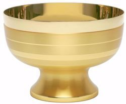 Picture of Liturgical Paten Ciborium H. cm 13 (5,1 inch) modern style smooth satin finish in brass Gold Silver