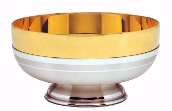 Picture of Liturgical Paten Ciborium H. cm 7 (2,8 inch) smooth satin finish in brass Gold Silver