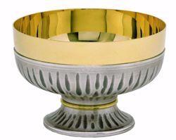 Imagen de Patena Copón Eucarística H. cm 8,5 (3,3 inch) con Nudo dorado de latón cincelado Oro Plata