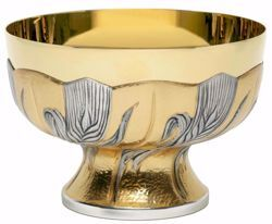 Picture of Liturgical Paten Ciborium H. cm 9,5 (3,7 inch) Ears of Wheat in chiseled brass Silver Bicolor