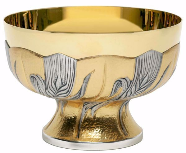 Immagine di Patena Pisside liturgica H. cm 13 (5,1 inch) Spighe di Grano in ottone cesellato Argento Bicolor