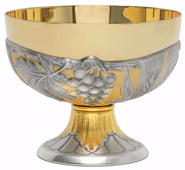 Immagine di Patena Pisside liturgica H. cm 11 (4,3 inch) Tralci d'Uva Spighe di Grano in ottone cesellato Oro Argento Bicolor