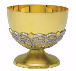 Picture of Liturgical Paten Ciborium H. cm 10,5 (4,1 inch) stylized decoration in brass Bicolor