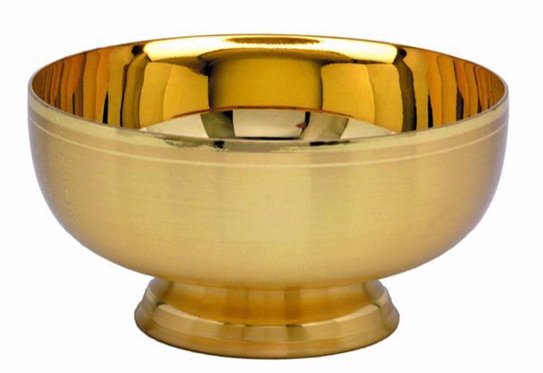 Picture of Liturgical Paten Ciborium H. cm 6 (2,5 inch) smooth satin finish in brass Gold