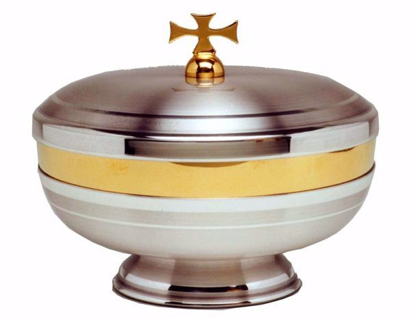 Imagen de Copón litúrgico Ciborio H. cm 10 (3,9 inch) acabado liso satinado de latón Oro Plata