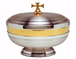 Picture of Liturgical Ciborium H. cm 11 (4,3 inch) smooth satin finish in brass Gold Silver