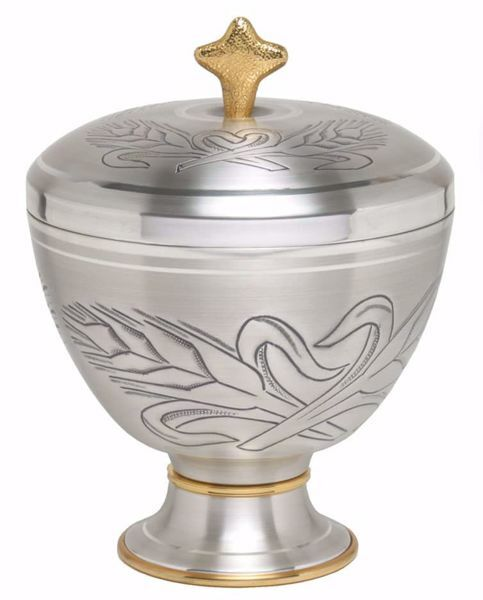Picture of Liturgical Ciborium H. cm 15 (5,9 inch) Ears of Wheat in chiseled brass Gold Silver