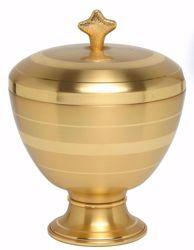 Imagen de Copón litúrgico Ciborio H. cm 17 (6,7 inch) acabado liso satinado de latón bornito Oro Plata