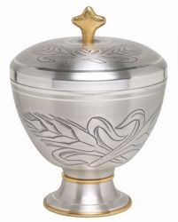 Picture of Liturgical Ciborium H. cm 17 (6,7 inch) Ears of Wheat in chiseled brass Gold Silver